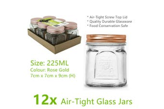 12x Air Tight Small 225ML Glass Jars with Lids Food Bottle Jam Spice Storage
