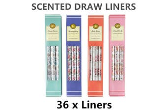 36 x Scented Drawer Liners 4 Assorted Flavour Fragrance 100g Shelf Gift Lining
