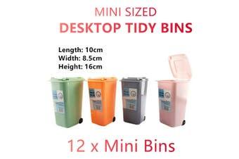 12 x Mini Desktop Tidy Bin Rubbish Waste Can Basket Office Table Small Wheelie