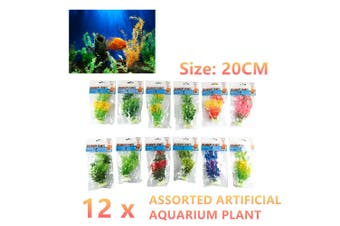 12x Artificial Aquarium Plants 20CM Fish Tank Plastic Fake Long Grass Decoration