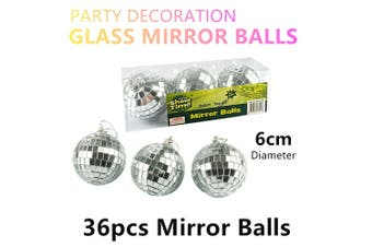 36x Mirror Balls 6cm Party Hanging Ornaments Decoration Disco Dance Reflective