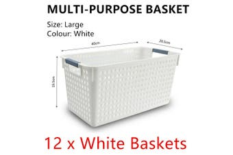 12x White Plastic Storage Basket 40x20cm Large Carry Caddy Laundry Bin Container