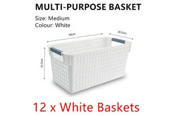 12 White Plastic Storage Basket 34x16cm Medium Carry Caddy Laundry Bin Container