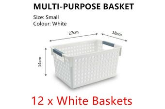 12x White Plastic Storage Basket 27x18cm Small Carry Caddy Laundry Bin Container
