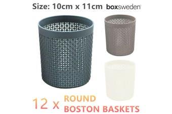 12 x Round Pen Pencil Holders Cup Desk Storage Desktop Organizer Basket 10x11cm