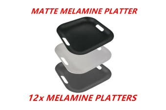 12 x Matte Square Melamine Serving Platters 38cm Color Catering Tray With Handle