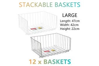 12 Large Stackable Wire Baskets 47x42cm Storage Box Containers Bins Kitchen Rack