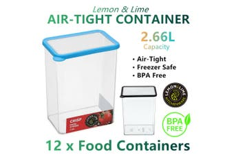 12x Large AirTight Food Storage Containers 2.6L Box BPA FREE Plastic Rice Cereal