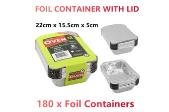 180x Aluminium Foil Containers Lids Tray Takeaway Baking Oven Roasting Pan Small