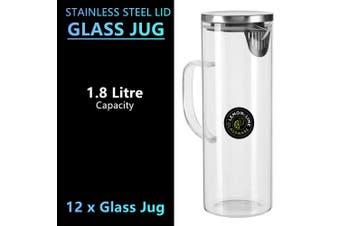 12x Glass Water Fridge Jug 1.8L Stainless Steel Lid Pitcher Juice Drinks Serving