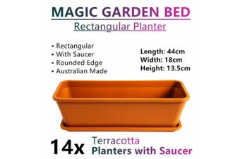 14x Rectangular Planter Raised Garden Bed Plant Pots Flower Plastic Basket Terra