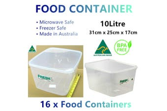16x Plastic Microwave Food Containers 10L BPA Free Rectangle Storage Boxes Lid