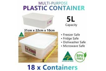 18x 5L Fridge Freezer Microwave Food Grade Containers Plastic Storage Box Crate