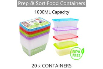 20x Plastic Food Container 1L Meal Prep Kitchen Takeaway Storage Microwave Lunch