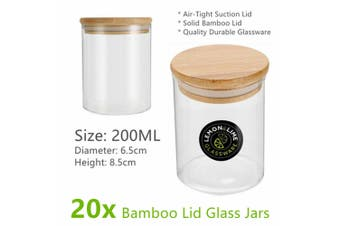 20x Glass Jar Food Storage Bottles Sealed Bamboo Lid Air Tight Container 200ml