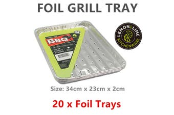 20 Aluminium Foil Grill Tray Roast BBQ Baking Container Catering Food Party Bowl