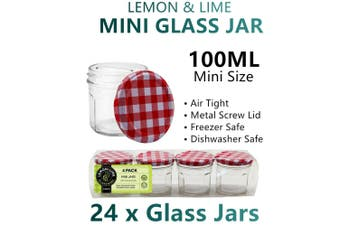 24x Mini AirTight Glass Storage Jars Small Mason Wide Bottle Food Spice Bulk