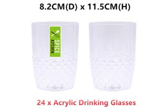 24 x Clear Acrylic Plastic Drinking Glasses Wine Beer Coffee Tea Party Wedding Cup