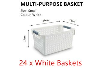 24x White Plastic Storage Basket 27x18cm Small Carry Caddy Laundry Bin Container