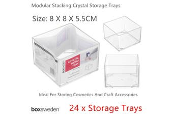 24x Clear Acrylic Organizer Storage Container 8cm Makeup Tray Stackable Box Bin