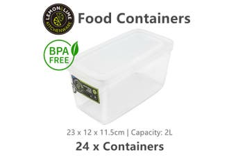 24 x BPA Free 2L Food Storage Containers Rectangular Stackable Plastic Box Tub