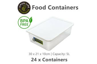 24 x BPA Free 5L Food Storage Containers Rectangular Stackable Plastic Box Tub