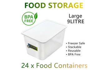 24x Food Storage Container Lid 9L Large BPA FREE Plastic Box Lunchbox Meal Prep