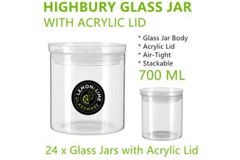 24 x Large AirTight Glass Jars 700ML Container Bottles Clear Stackable Storage Food