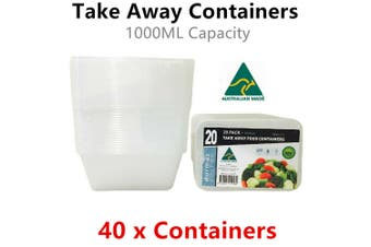40x Food Container 1000ML Take Away Storage Box Meal Prep Microwave Plastic Cook