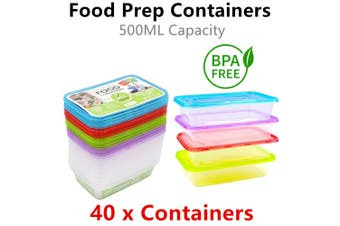 40x Meal Prep Food Container 500ML Take Away Storage Box Microwave Plastic Cook