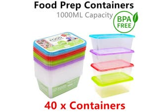 40x Meal Prep Food Container 1000ML Take Away Storage Box Microwave Plastic Cook