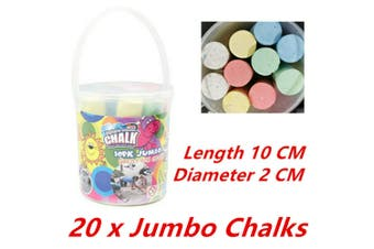 20 x Jumbo Coloured Chalk Chalks School Teaching Board Bucket Colour Drawing Art
