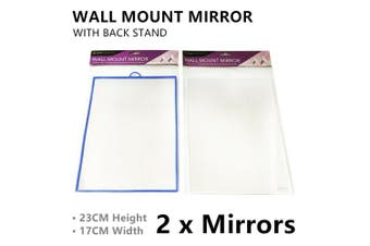 2x Table Mirror W/ Back Stand Wall Mount Dressing Vanity Cosmetic Makeup Bedroom