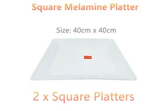 2 x Jumbo Square Melamine Serving Platter Plate Food Tray Large Plate Catering