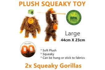 2x Squeaky Soft Plush Gorilla Doll Dog Chew Toy Interactive Pet Puppy Training