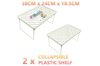 2x Collapsible Plastic Shelf 38x24CM Rack Kitchen Spice Foldable Tray Table