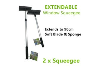 2x Extendable Windows Squeegee 90cm Cleaning Washing Wiper Wash Shower Glass