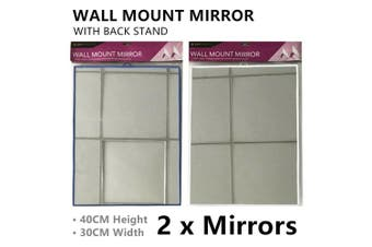 2x 40CM Mirror W/ Back Stand Wall Mount Dressing Vanity Cosmetic Makeup Bedroom