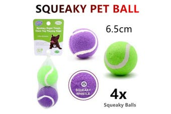 4x Squeaky Dog Playing Chew Ball 6.5cm Squeaker Tennis Pet Catch Fetch Training