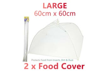 2x Large Collapsible Mesh Food Covers Net 60CM Dome Pop Up Umbrella Fly Wasp