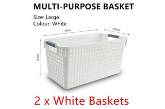 2x White Plastic Storage Basket 40x20cm Large Carry Caddy Laundry Bin Container