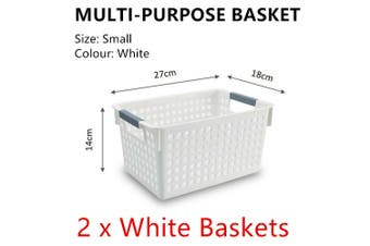 2x White Plastic Storage Basket 27x18cm Small Carry Caddy Laundry Bin Container