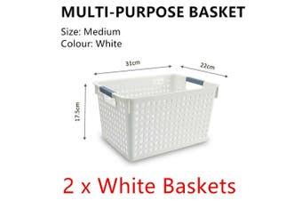 2x White Plastic Storage Basket 31x22cm Medium Carry Caddy Laundry Bin Container