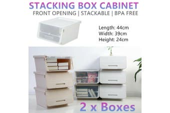 2x Stacking Storage Boxes Cabinet Stackable Rack Kitchen Shoes Container Shelf