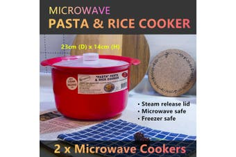 2x Microwave Cooker Steam Release Lid Cooking Steamer Pasta Rice Bacon Bowl
