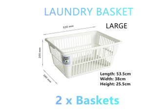 2x Large White Laundry Baskets Hamper Clothes Cloth Storage Box Carry Bins Bag