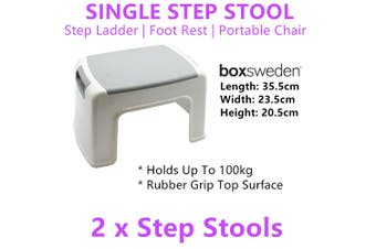 2X Non Slip Single Step Stool Ladder Sit Chair Foot Rest Office Computer Plastic