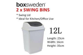 2x Swing Lid Waste Bin 12L Trash Rubbish Garbage Can Dust Basket Kitchen Office