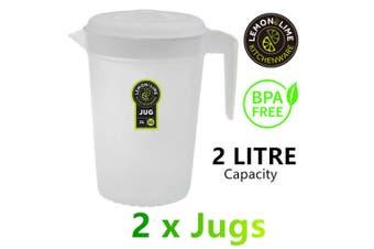 2x Fridge Jugs 2L Water Drink Juice Pitcher Kettle Bottle BPA FREE Clear Plastic