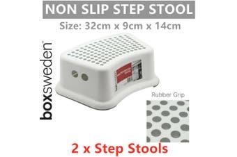 2 x Non Slip Rubber Grip Single Step Stool Plastic Ladder Home Chair Light Climb